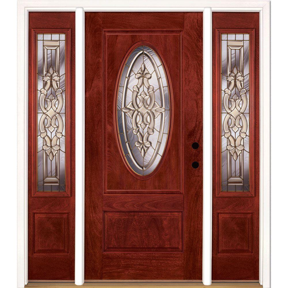 entry doors 63.5 in.x81.625in.silverdale brass 3/4 oval lt stained cherry FCFZFEG