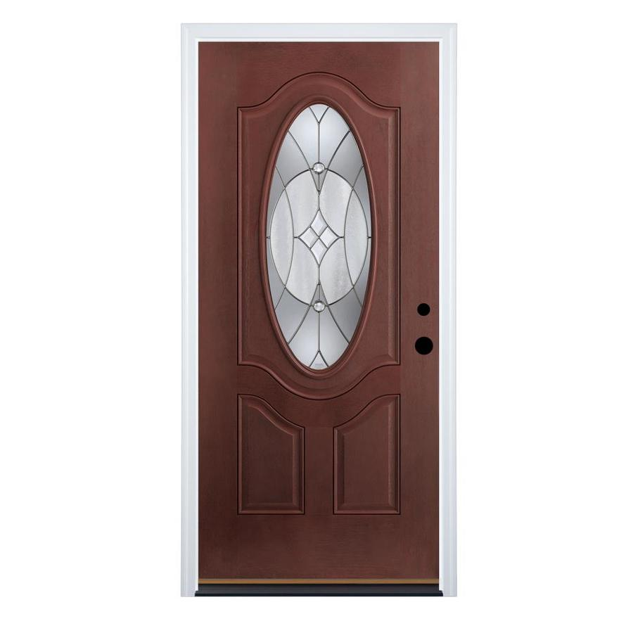 entry doors therma-tru benchmark doors delano 2-panel insulating core oval lite  fiberglass stained prehung JMQJIAE