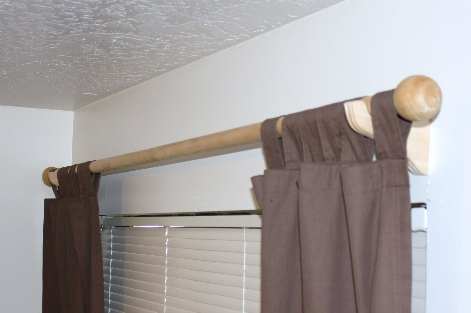 Fabulous Wooden Curtain Rods Designed Without Painting Mixed With Brown Drapes And PKOPOZL