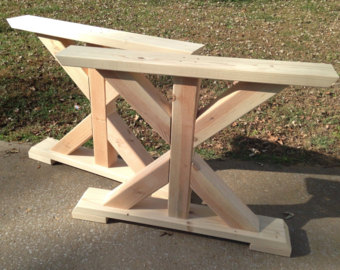 farmhouse trestle table legs, x-frame table legs, wood table legs, wide KVIWWIF