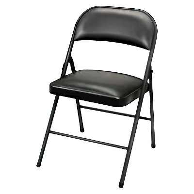 folding chairs folding chair vinyl padded black - plastic dev group® KCPFZVY