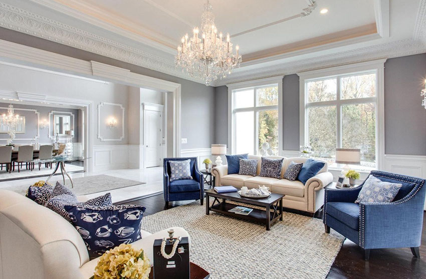 formal living room ideas traditional luxury living room with tray ceiling and glass chandelier ESUCEYZ