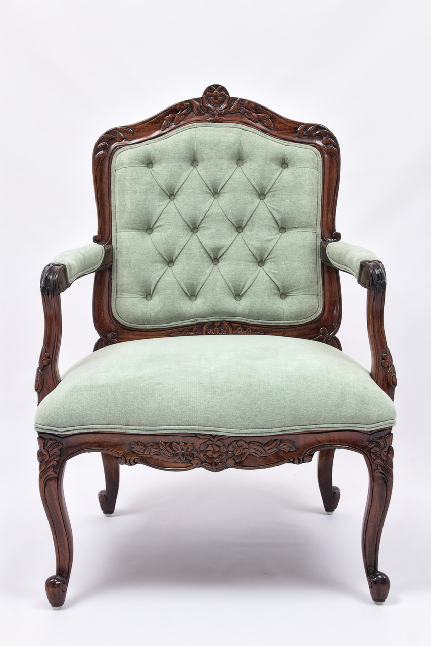 french provincial furniture louis xv armchair with tufted backrest HDPVBRO
