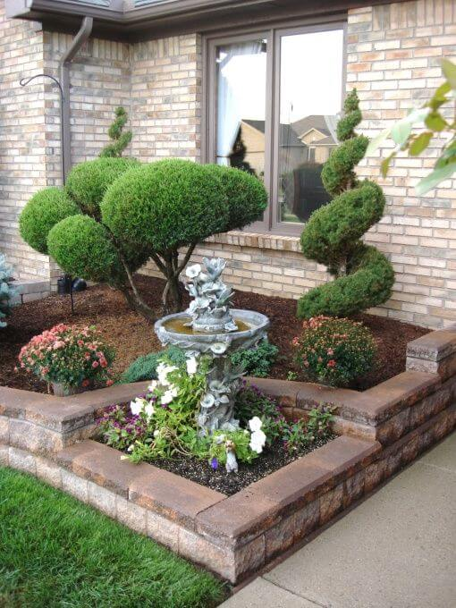 front yard landscaping ideas easy care evergreen entryway CNYCPEM