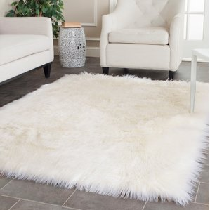fur rugs nichols ivory area rug WBQIDTK