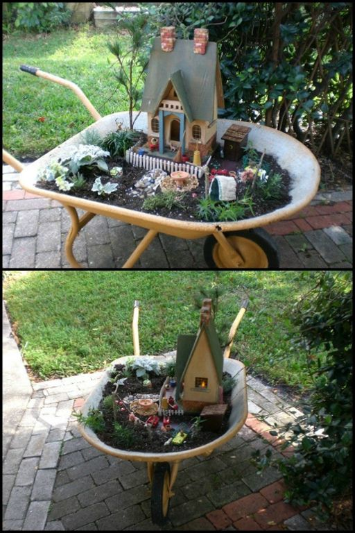 garden decor who ever thought of making this mobile fairy garden is a genius! learn JOAWKIT