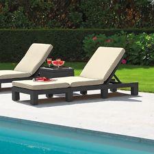 garden loungers allibert rattan daytona sun lounger garden furniture with grey or cream  cushion NGGJLZV