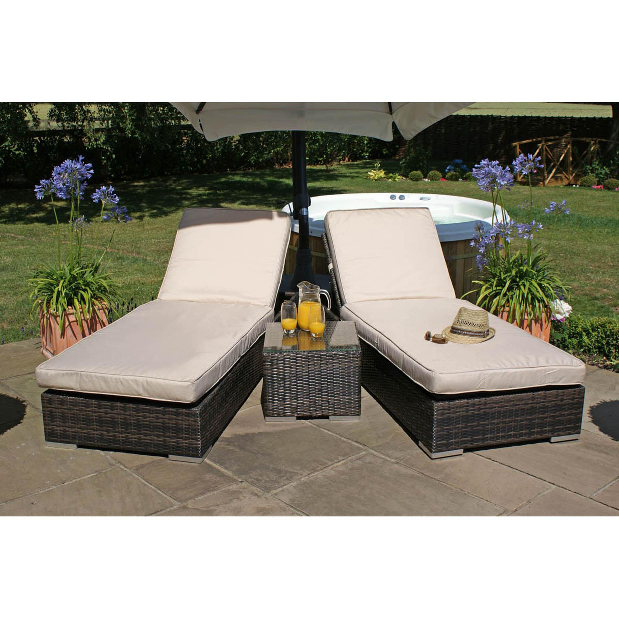 garden loungers maze rattan orlando brown set of 2 sun loungers. loz_exclusively_online CGMHTXJ
