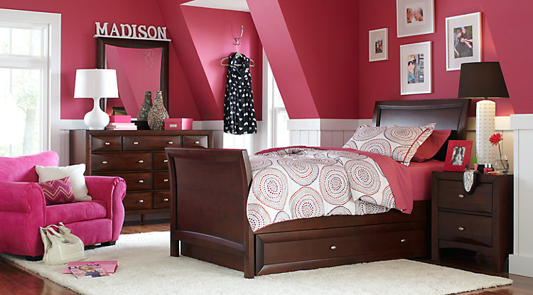 girl bedroom sets ivy league cherry 6 pc full sleigh bedroom BAHCUGI
