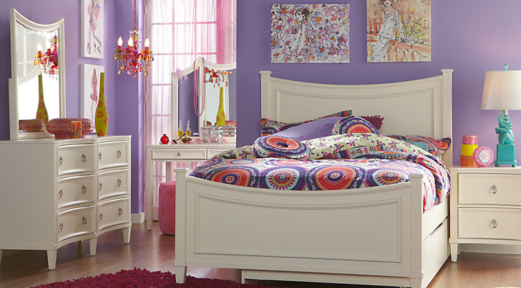girl bedroom sets jaclyn place ivory 5 pc full panel bedroom ACISZAT