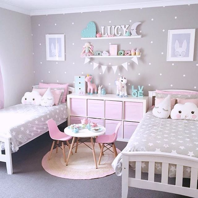 girls bedroom designs super cute pink, grey and turquoise girlu0027s shared bedroom with polka dot YUBRZSH