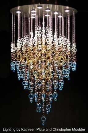 gorgeous recycled glass chandelier by kathleen plate of smart glass OWBHKFZ