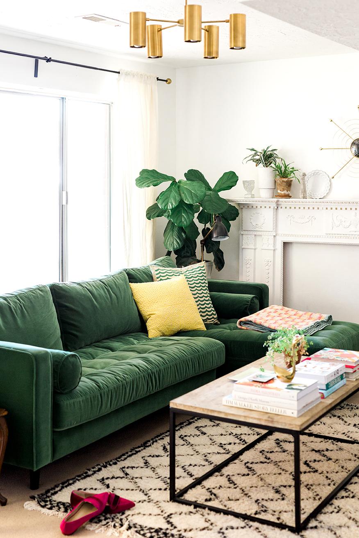 green sofa anywhoo, i feel like though iu0027ve always felt like our home is u201ctemporaryu201d JZBFAVR