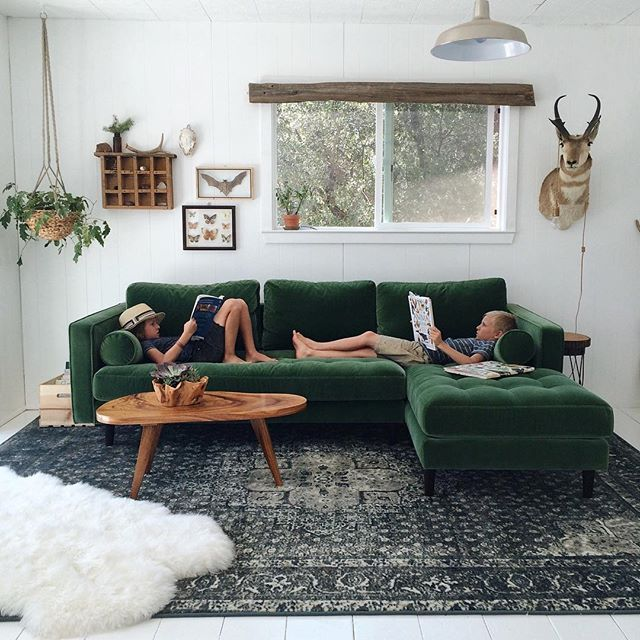 green sofa article sectional in green velvet KAQGSSR
