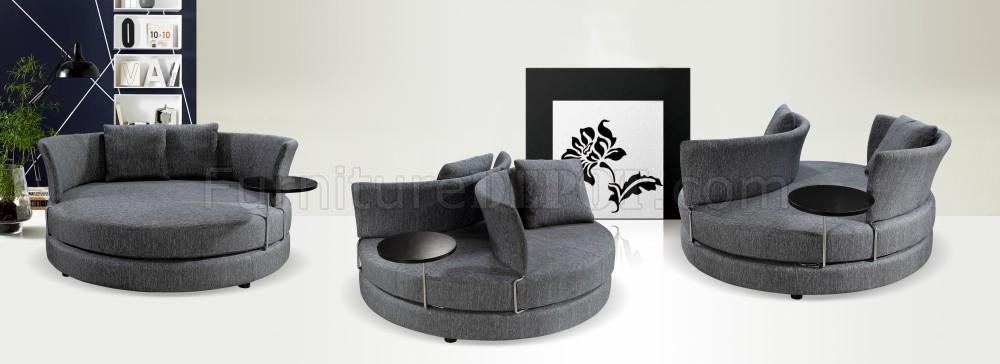 grey fabric modern adjustable circular sofa w/end table BALOMGE