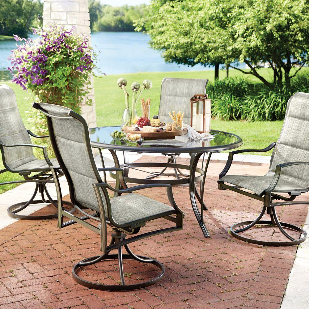 hampton bay statesville 5-piece padded sling patio dining set with 53 in. OANJKCN
