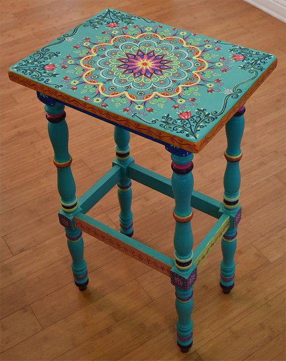 Hand Painted Furniture Solid Wood Accent Table Size 17 X By Sunsoulcreations UQUYBGR