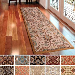 hand-tufted patchway wool runner rug (3u0027 x ... ACUMDYX