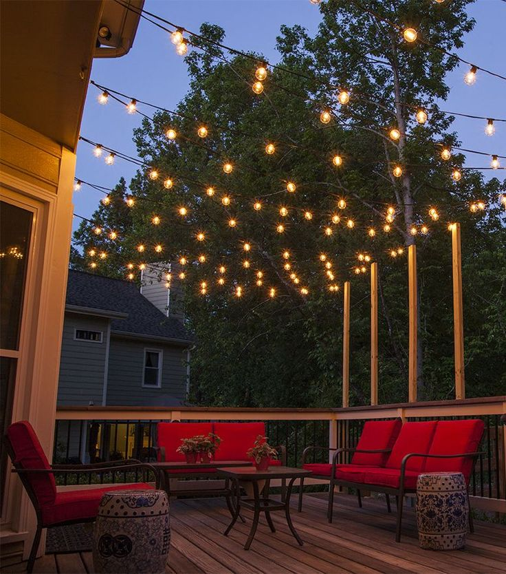 hang patio lights across a backyard deck, outdoor living area or patio. ZFRPFWB