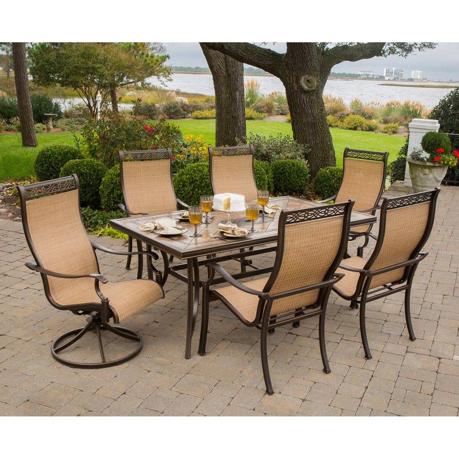hanover outdoor furniture monaco bronze stone patio dining set KAMXJDO