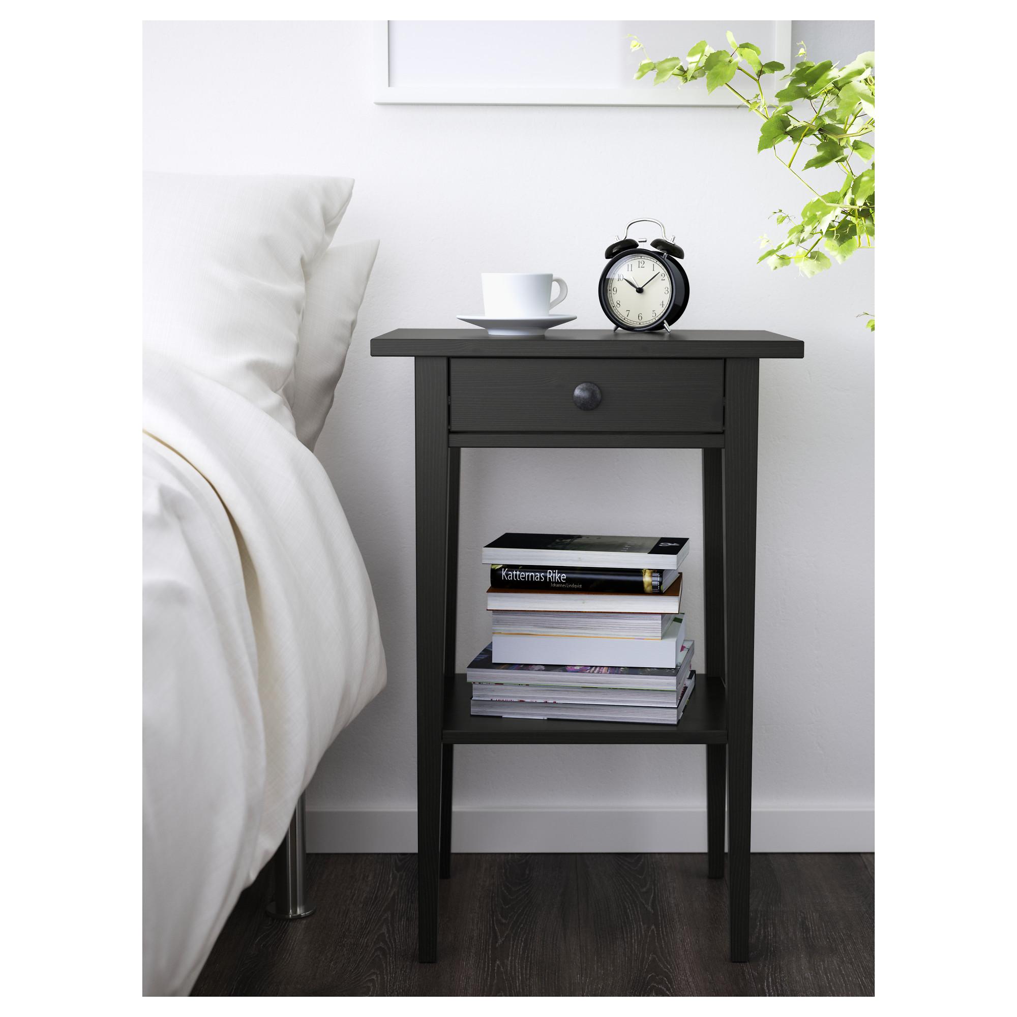 hemnes bedside table - black-brown - ikea ZXCMIUM