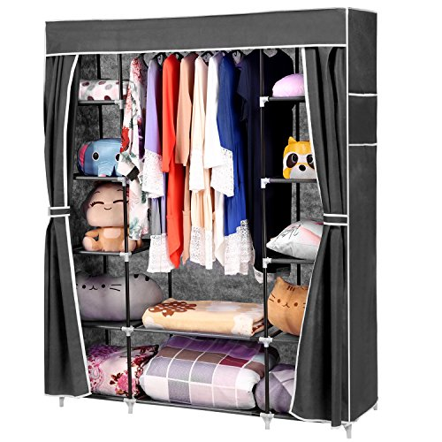 homdox 66inch portable wardrobe metal+fabric closet organizer storage with  cover and side YCKQUSX