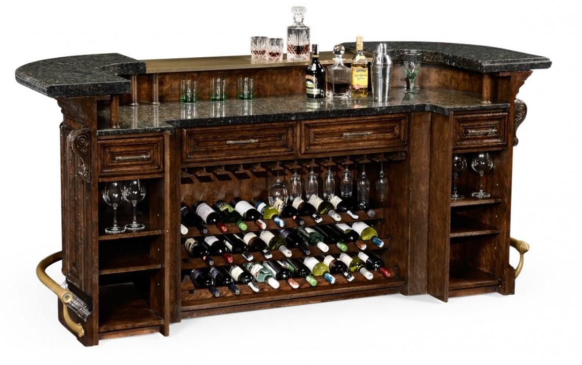 home bar furniture home bar. oak wood, granite top with brass rail LXLRRQG