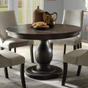 homelegance dandelion round pedestal dining table in distressed taupe -  2466-48 from KJZRZOB