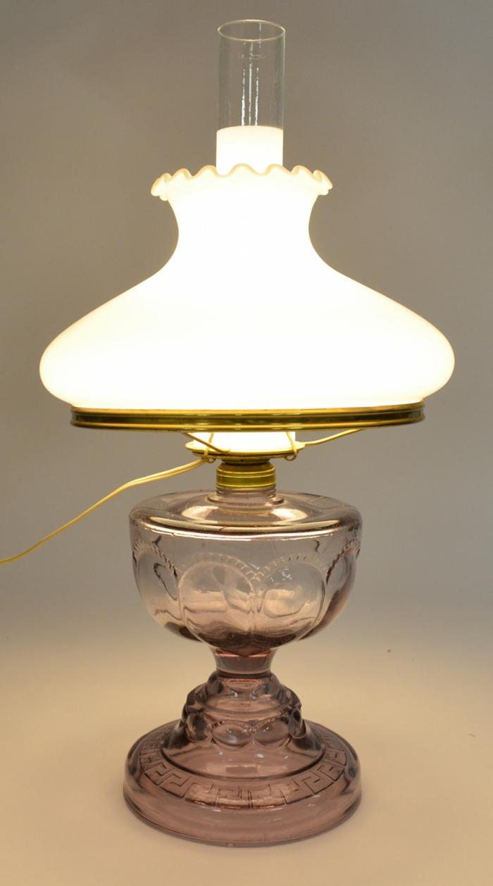 hurricane lamps antique purple hurricane lamp with fenton milk glass ruffle top lamp shade FSLWAVS