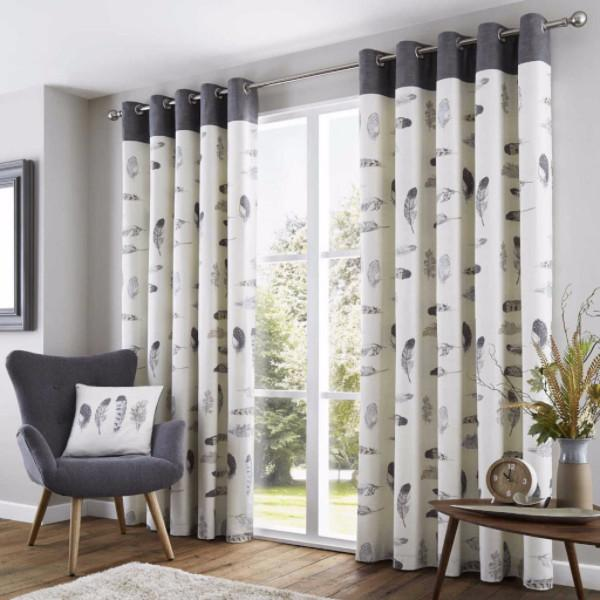 idaho lined eyelet curtains grey VVJEWAC