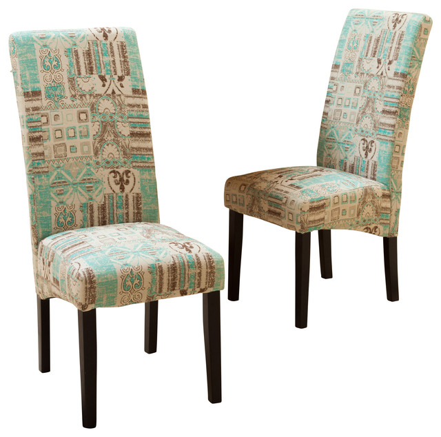 india geometric fabric dining chairs, teal, set of 2 contemporary-dining- chairs JMUFBDI