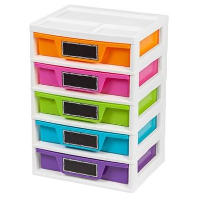 iris 5 drawer plastic storage drawers BUDFAEW
