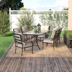 iron patio furniture sweetman 7 piece outdoor dining set with cushion QVRMEFT