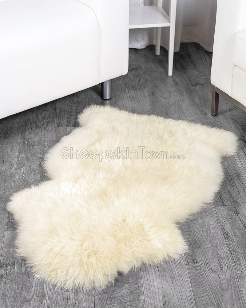 ivory white sheepskin rug (2x3.5 ft) ELNCJID