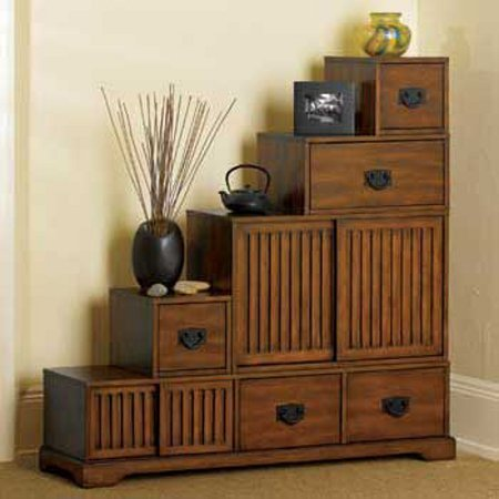 japanese furniture reversible japanese-style furniture - tansu wooden step chest w/ storage  drawers - ZEWPDGN