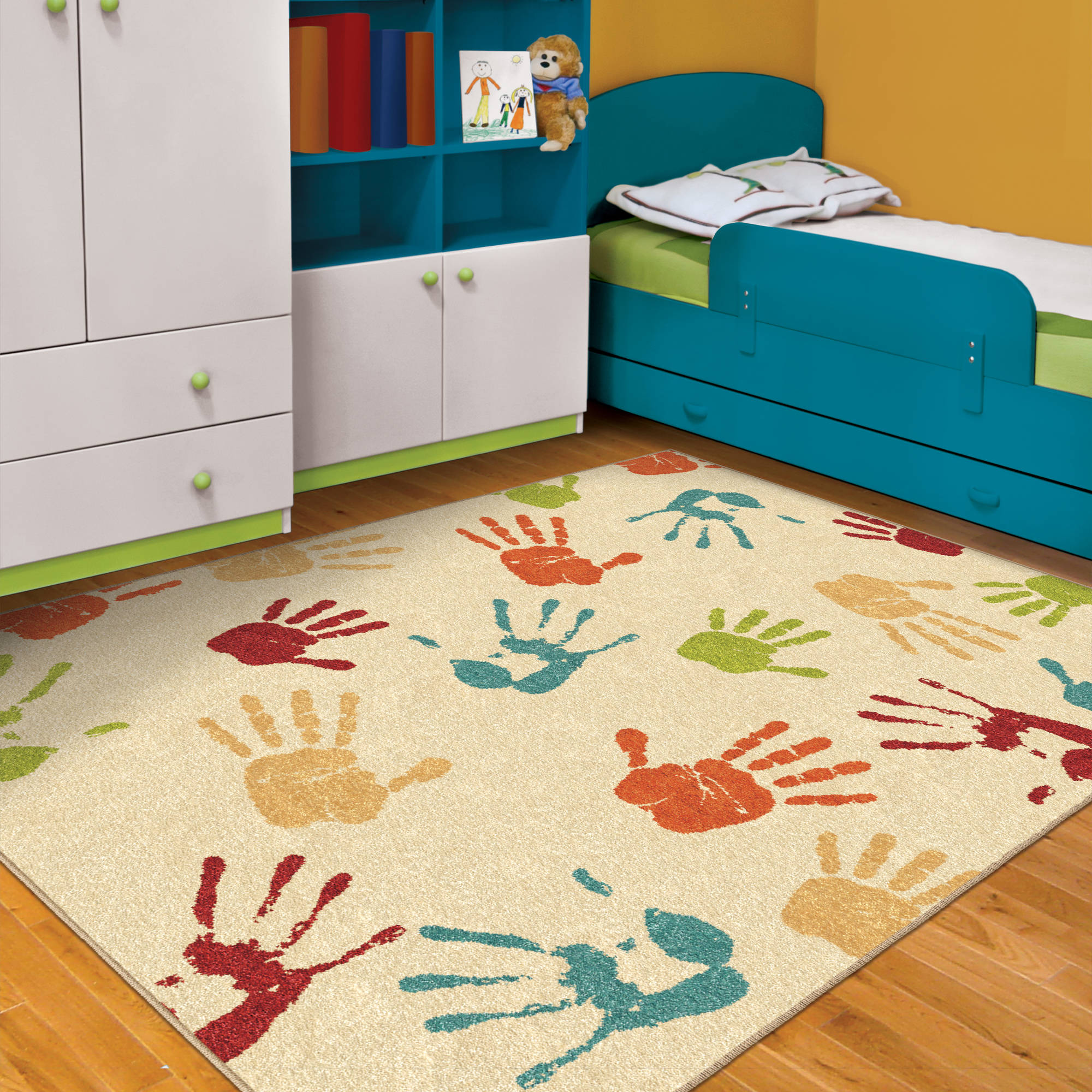kids area rugs orian handprints fun kidsu0027 area rug - walmart.com GXROUON