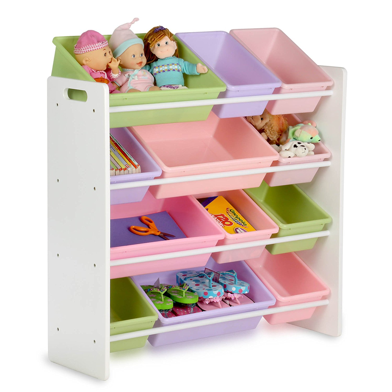 kids storage amazon.com: honey-can-do srt-01603 kids toy organizer and storage bins,  white/pastel: kitchen u0026 CWPKJBV