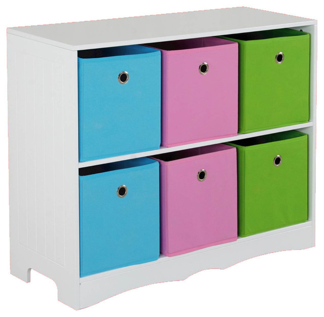 Kids Storage Shelf With 6 Bins Contemporary Benches And