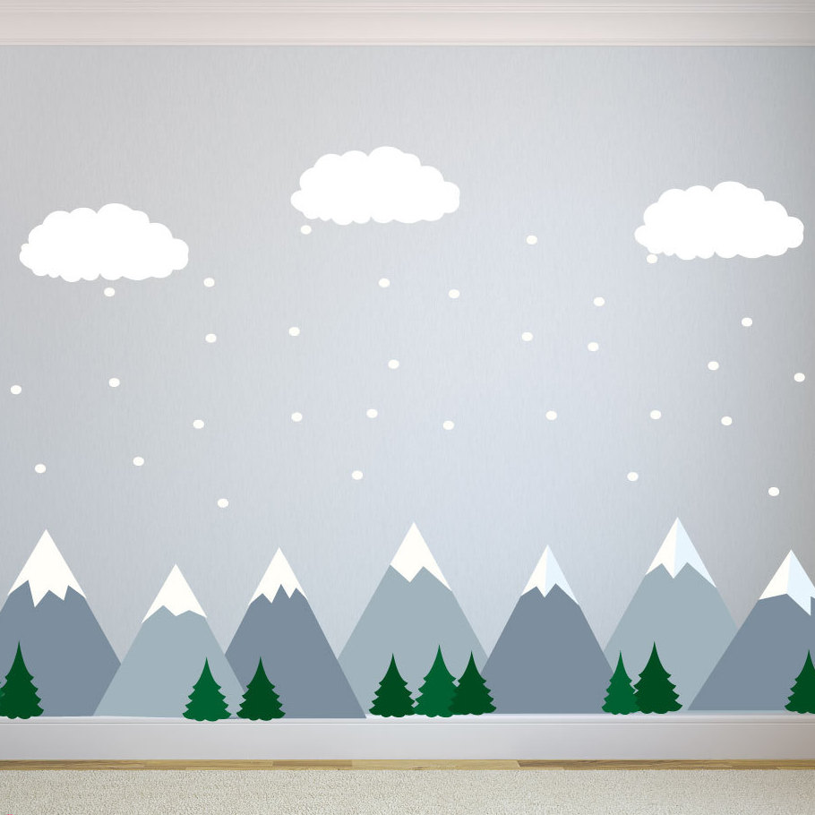 kids wall decals mountain wall decals - $159.99 ETQMYLM