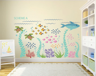 Kids Wall Decals Ocean Decal Ocean Wall Decals Fish Decal Removable Wall  Decals