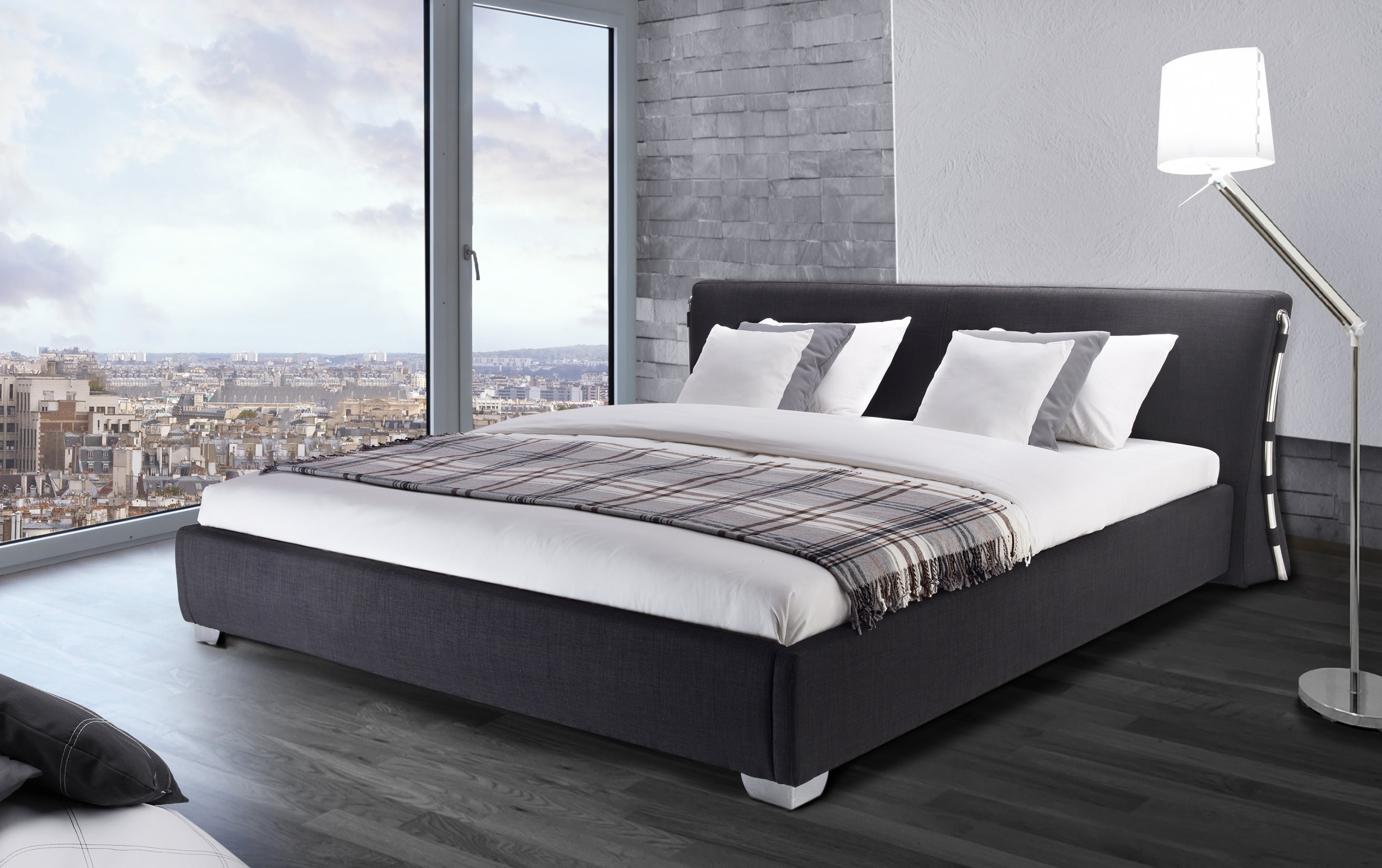 king size bed beliani water bed - super king size - full set - paris black-anthracite RSUJNPX