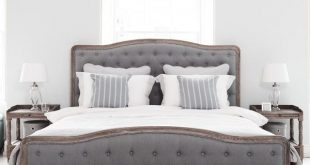 king size bed chantal bed - grey linen and oak superking. king size ... ZBRZFPR