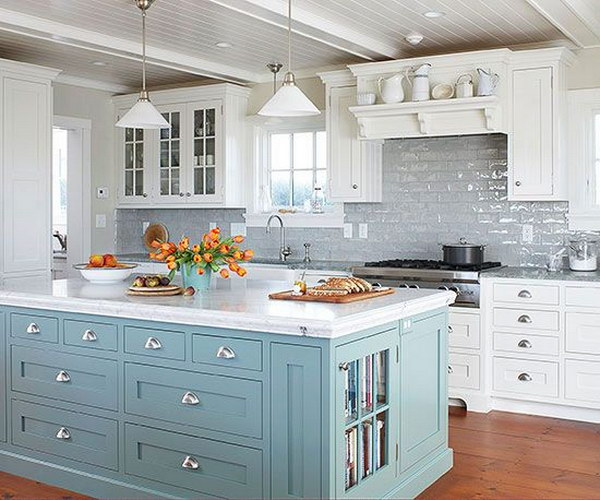 Kitchen Backsplash Ideas Blue Island Livening Up The Grey Subway Tile  Backsplash And White Cabinetry RYXPVSY