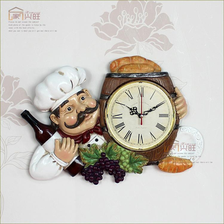 Kitchen Clocks Personalized Restaurant Resin Vintage Wall Clock Large Office Xbtqfpo