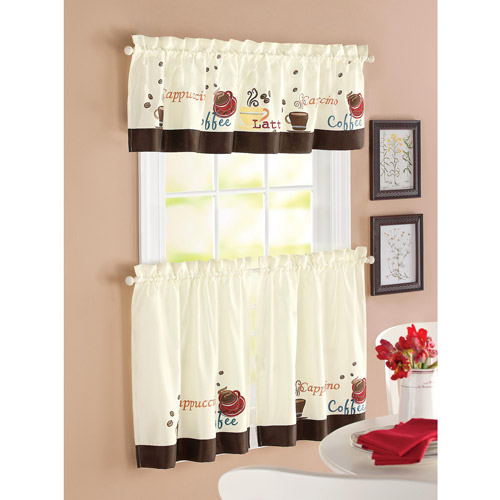 kitchen curtain better homes and garden coffee window kitchen curtains, set of 2 BKYEFCO