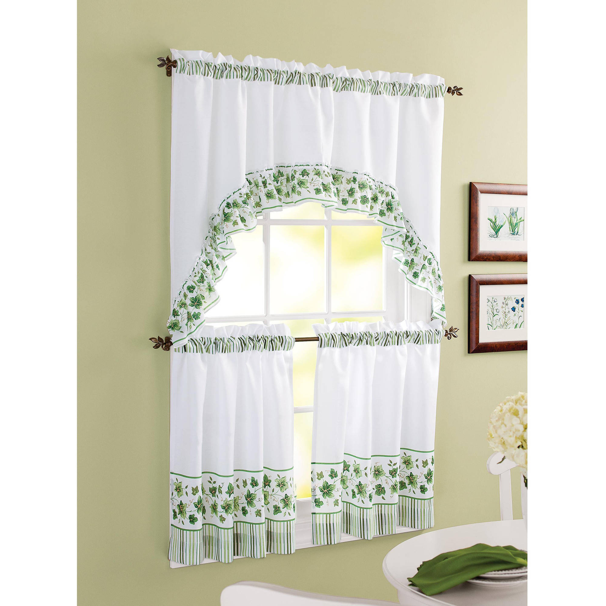 kitchen curtain mainstays seashell toss printed valance and kitchen curtains, set of 2 - CLAMQUI