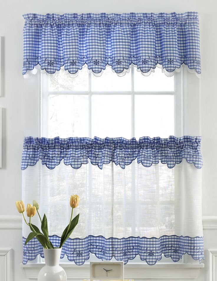 kitchen curtain provence gingham kitchen curtains - available in blue, red, black, chocolate ILNTCXE