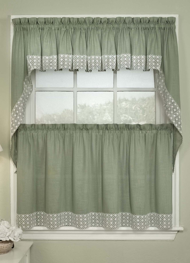 kitchen curtain salem curtains - sage RPSFGFP