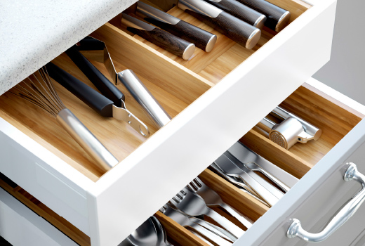 kitchen drawers close-up of open drawers with flatware trays in solid beech. XENCTAM