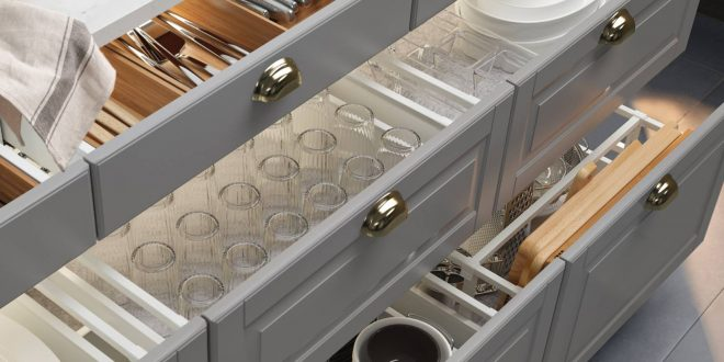 kitchen drawers efficiently holding dishes, in a photo from ikea. KXKFZON